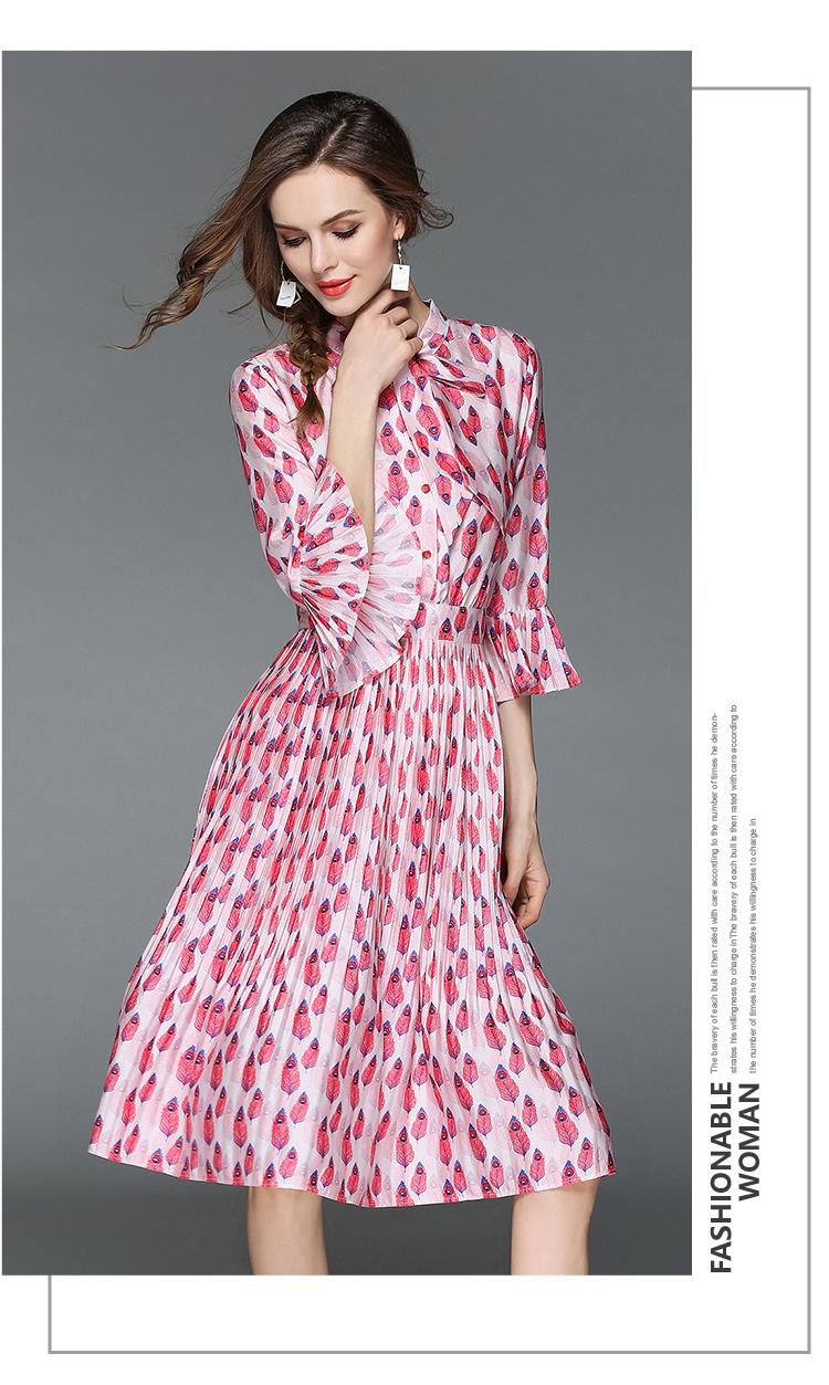 Woman Horn Sleeve Printed Pink Summer Dress Womens Dresses New Arrival 2018 Midi Beach Party Dress Dames Kleding K6012 6