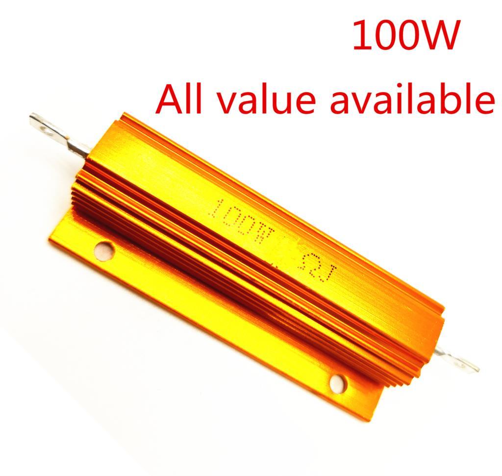1PCS 100W 0.25R 0.33R 0.4R 0.47R 0.5R Aluminum Power Metal Shell Case Wirewound Resistor 0.25 0.33 0.4 0.47 0.5 ohm 100W 5%
