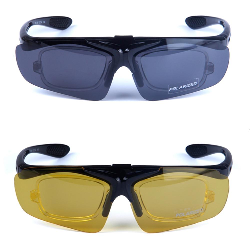 Prix pour Cyclisme lunettes de Soleil 2 Verres Polarisés pour la Journée et Nuit Vision Exchangable, UV400 Lunettes De Vélo de Conduite Lunettes RX Inserts