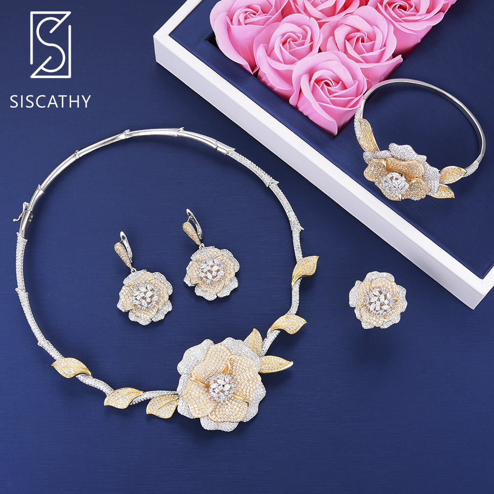 Siscathy Luxury Cubic Zirconia Blossom Flower Necklace Dangle Earrings Bracelet Ring Women Wedding Jewelry Sets boucle d'oreille