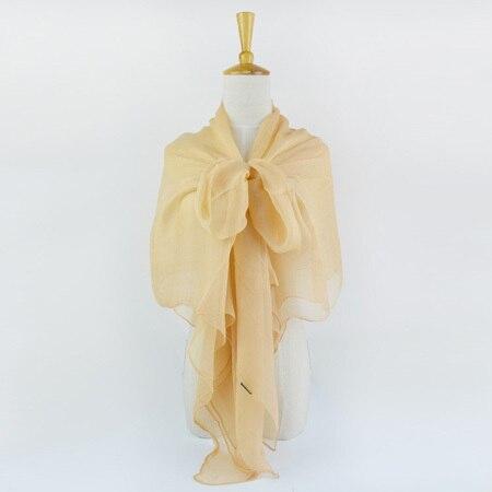 Жатый шелк жоржетовый длинный шарф 110 см X 180 см Чистый шелковый шарф женский однотонный цвет изделия из шифона в большом размере шарф - Цвет: 02