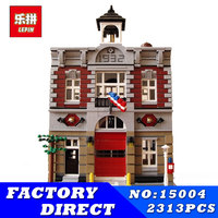 City Street Building Blocks Bricks LEPIN 15004 Fire Brigade Station 2313 PCS Creator Toy Gift Compatible Children Kit Toys DHL