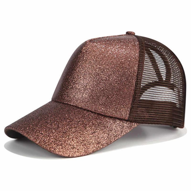 2018 кепка женская блеск конский хвост бейсбольная Кепка Snapback папа кепка-бейсболка Кепка s Женская грязная булочка летняя сетчатая шляпа Женская регулируемая хип-хоп шляпы