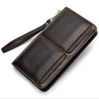 new Men's Wallets Genuine Leather Wallet Long Slim Phone Wallet Purse Card Holder Coin Purse Men Clutch Bag Male Wallets