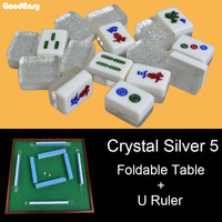 Hot Sell High Quality Traveling Mini Melamine Mahjong Set with Foldable Table with U Ruler Funny Family Table Board Game