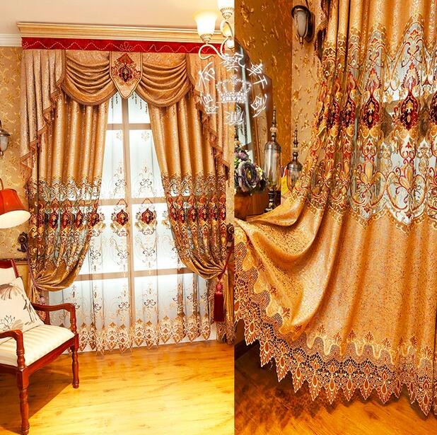 new design luxury curtains for living room golden embroidered fabric blinds curtains for bedroom window curtain