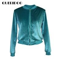 Kadife Ceket 2017 Vogue İlkbahar Sonbahar Uzun Kollu Kadın Temel Coats Vintage Sokak Tarzı Bombardıman Ceketler Fermuar chaquetas