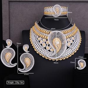 Image 5 - GODKI Luxe Water Drop 4 stuks Afrikaanse Cubic Zirkoon CZ Nigeriaanse Sieraden sets Voor Vrouwen Bruiloft Dubai Goud Bruids Sieraden set 2019