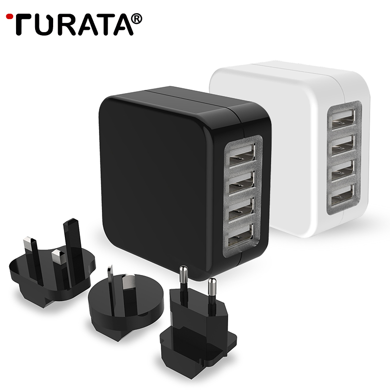 TURATA Travel Charger AC Adapter Universal 4 USB Ports with US EU UK AU Plug Converter
