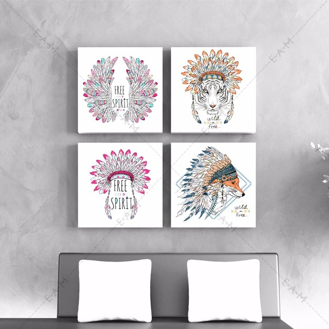 Native India Hippie Animal Canvas Art Print Painting Poster Wall