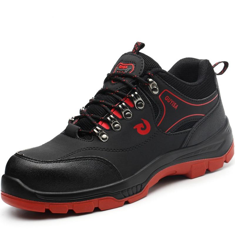 Hombres Trabajo Los Cuero Zapatos Tamaño Herramientas Seguridad De Gran La Moda Acero Tapas pierce Botas Punta Anti Vaca Zapatillas Plataforma Británica xAvwwpn1