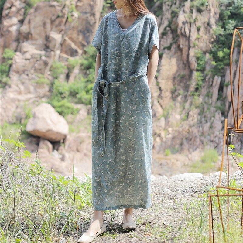 Kadın Giyim'ten Elbiseler'de Baskı yaz elbisesi 2019 Yeni Giysi Kısa Kollu Orta buzağı Uzunluğu V Yaka Vintage Gevşek Keten Rahat Kadın Elbise'da  Grup 1