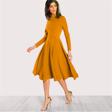 купить High Collar Solid Long Sleeve Party Dress 2019 New Spring Autumn Women Slim Elegant Fashion Casual Mid Long A-line Dress Female по цене 773.76 рублей