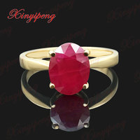 18 k yellow gold with 100% natural ruby ring female fine jewelry Contracted joker money red