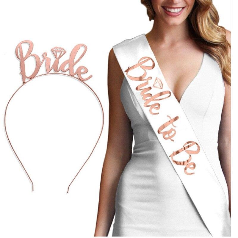 Команда To Be Bride атласной лентой створки с кольцом Курятник для Bachelorette свадебный душ Свадебные украшения заготовки