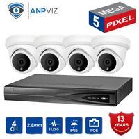 2019 New NVR KITS 4CH Video Cameras System 5.0 MP Metal IP Camera Indoor 4CH 5MP POE NVR 13V CCTV Kit Email Alarm Night Vision