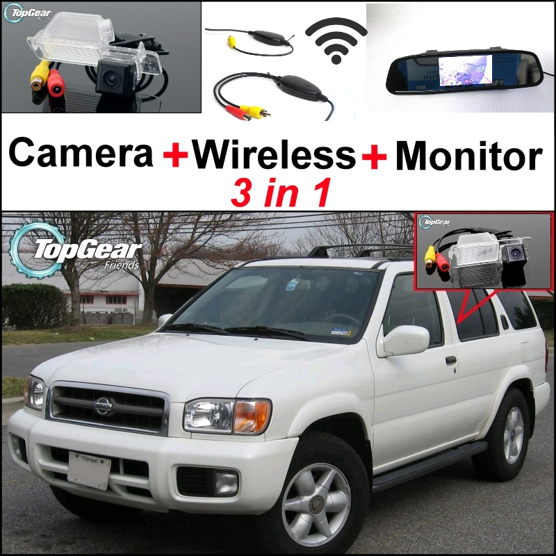 3 in1 Special Rear View Camera + Wireless Receiver + Mirror Monitor Back Up Parking System For Nissan Pathfinder R50 1995~2004 for nissan micra march 3 in1 special rear view camera wireless receiver mirror monitor easy diy back up parking system
