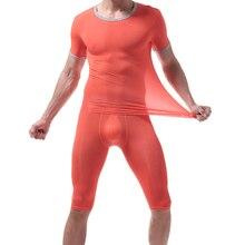 Ice Silk Pajamas Sets Sexy Men Short Sleeve T Shirt Transpar