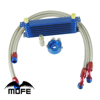 Universal 7 Row 10AN Aluminum Engine Auto Oil Cooler For Car Blue Sandwich Adapter Oil Pipe