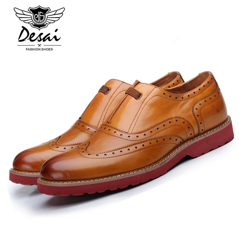 Desai Brand British Bullock Style Mens Casual Shoes Genuine Leather Lace-up Retro Design Carved Oxfords Shoes for Men D166101 2016 summer new retro british style men s business suits round leather shoes shoes oxford shoes bullock carved free shipping