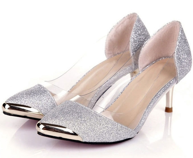 85b9bbe3ce Womens Shoes Spring 2015 Silver Shoes Low Heel Womans Pumps Fashionable  Women's Shoes Dress Sapatos Femininos Pointed Pumps L98