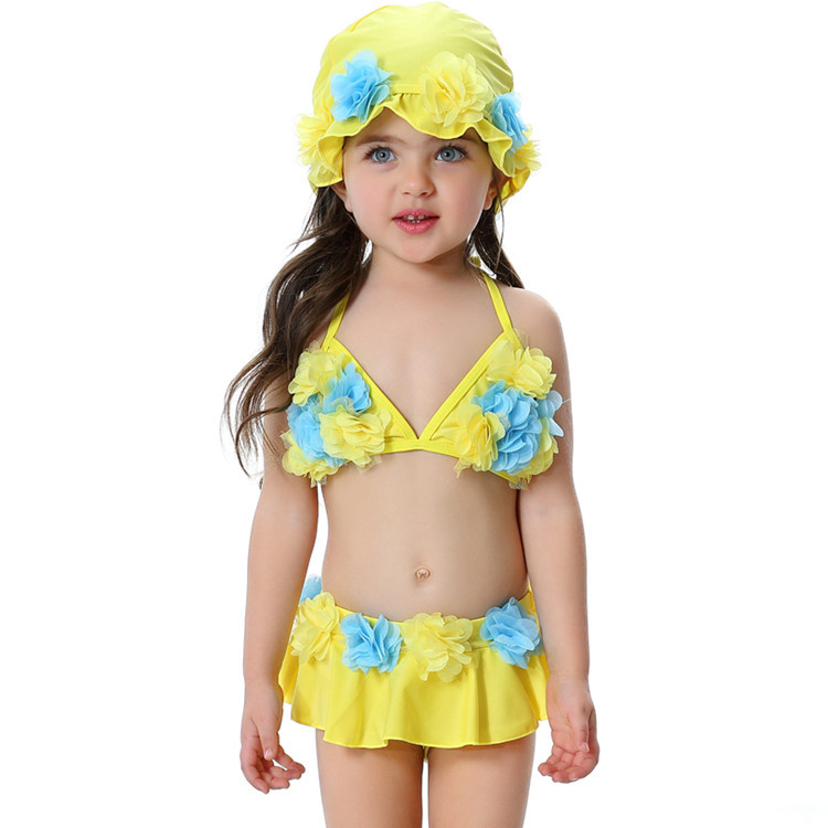 New 2018 There-Piece Grils Swimwear Rose,Pink,Yellow Solid Cute Floral Children Girls Summer Swimsuit Beachwear Swimming