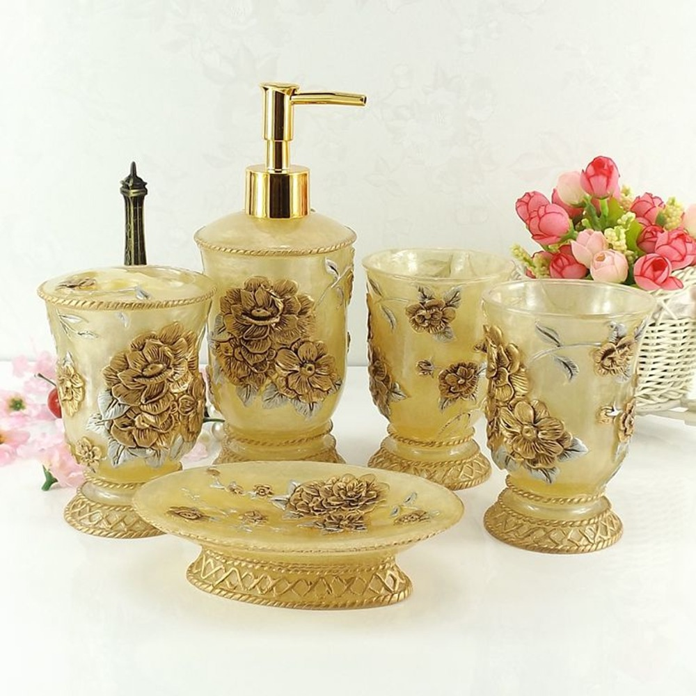 Gold bathroom sets - Aliexpress Com Buy High Quality Art Gift Floral Drawing Bathroom Set Pink Gold Diy 5 Pcs Bath Accessory Bath Kit Soap Dish Bottle Toothbrush Holder From
