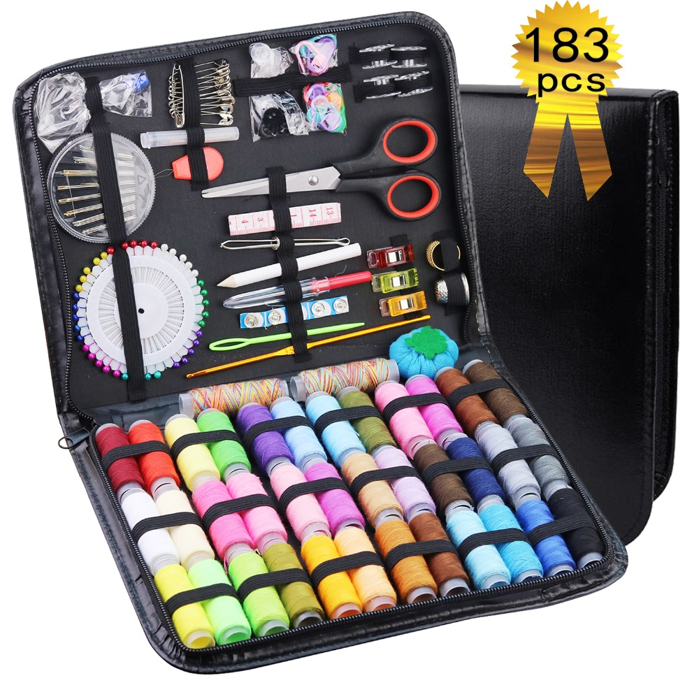 183Pcs Sewing Box Multi-function Travel Sewing Kit Stitch Needle Thread Storage Bag Fabric Craft Sewing Set Best Gifts for Mom183Pcs Sewing Box Multi-function Travel Sewing Kit Stitch Needle Thread Storage Bag Fabric Craft Sewing Set Best Gifts for Mom
