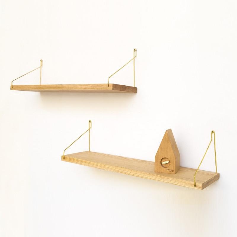 Livraison gratuite nordique étagère murale bibliothèque étagère support bois métal Design moderne suspendus supports pour couloir Rails bookrack