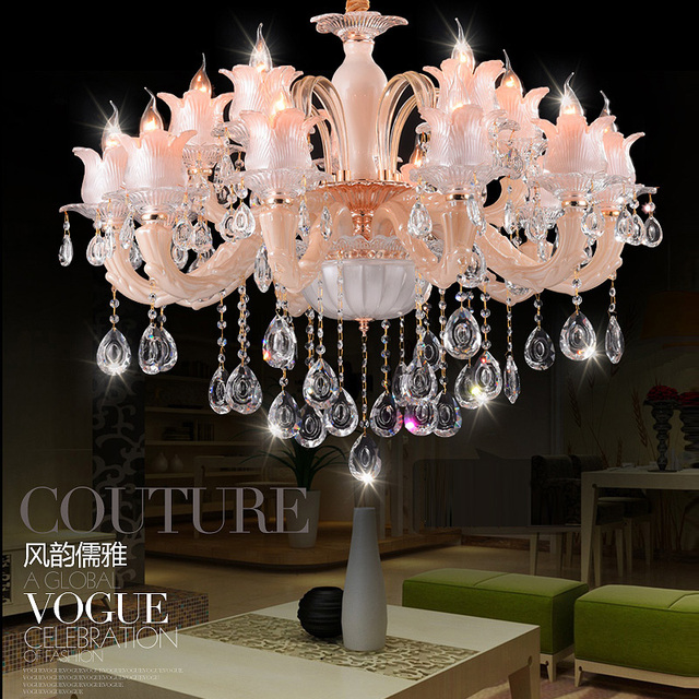 Modern Pink Crystal Chandeliers Dining Room Living Lobby Lamp Lighting 15  Heads LED Candle Bulb Interior