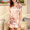 5 Color imitation silk nightgown lady dress vestidos retro  Christmas  comfortable Home  pajamas  sleepwear robe