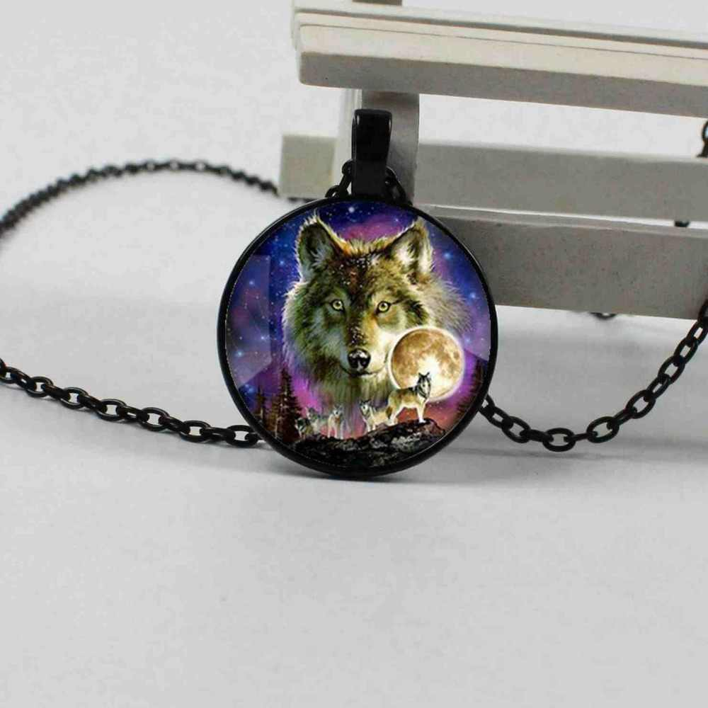 2019 new wolf fashion starry crystal glass convex round silver chain necklace men and women jewelry