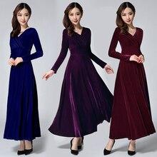 5 цветов, осенне-зимнее теплое бархатное платье, деловой пикантный женский v-образный вырез, длинные бархатные платья с длинными рукавами, женские платья
