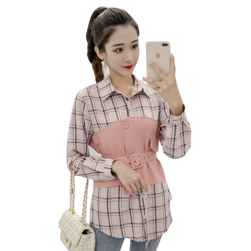 2018 New Autumn Women   Shirts   Patchwork Plaid Slim Han Fan Holiday Two Jackets   Blouse     Shirt   Brown Pink 3350