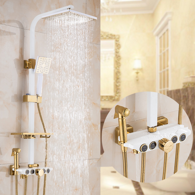 Jomuwa Retro Shower Bath Set White Bath Faucets Gold Bathroom
