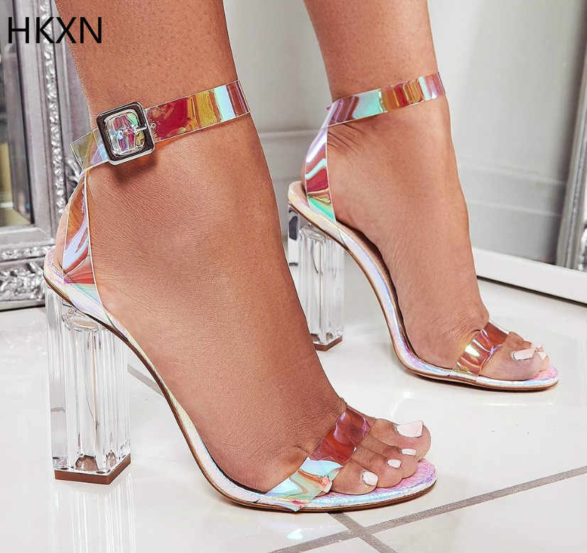High Quality 2019 PVC Clear Transparent Strappy Buckle Sandals Women Sandals Shoes Celebrity Wearing Simple Style High Heels