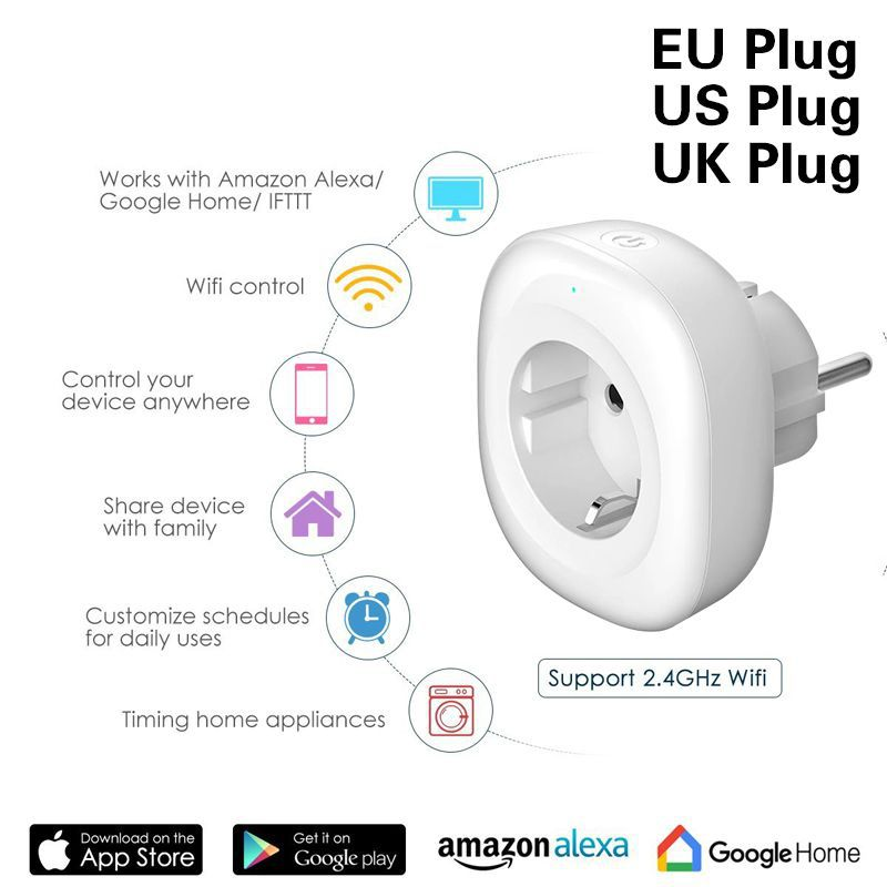 WIFI Smart Charger EU Plug 220V 16A Remote Control Voice control  smart Timing Switch Work For Amazon Alexa/Google Assistant-in Mobile Phone Chargers from Cellphones & Telecommunications