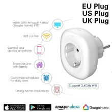 WIFI Smart Charger EU Plug 220V 16A Remote Control Voice control  smart Timing Switch Work For Amazon Alexa/Google Assistant