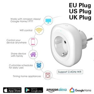 Image 1 - WIFI Smart Charger EU Plug 220V 16A Remote Control Voice control  smart Timing Switch Work For Amazon Alexa/Google Assistant