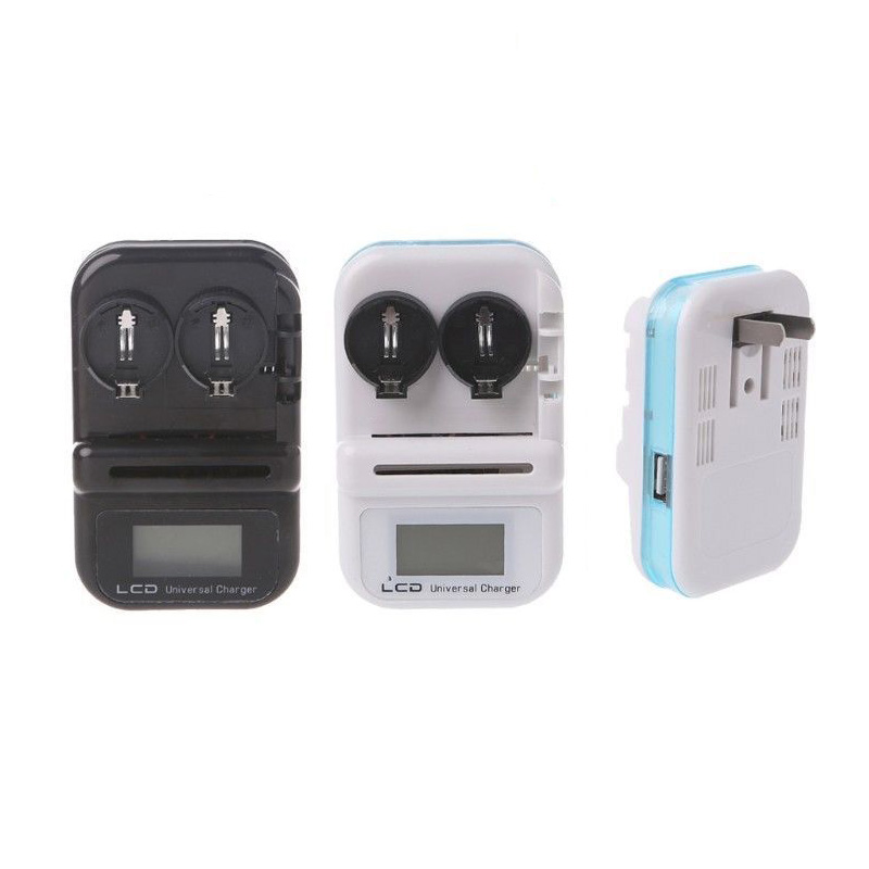 2 Slots Button Battery Charger LCD Screen Intelligent Battery Charger US Plug Supports LIR2032 LIR2025 LIR2016 Mayitr