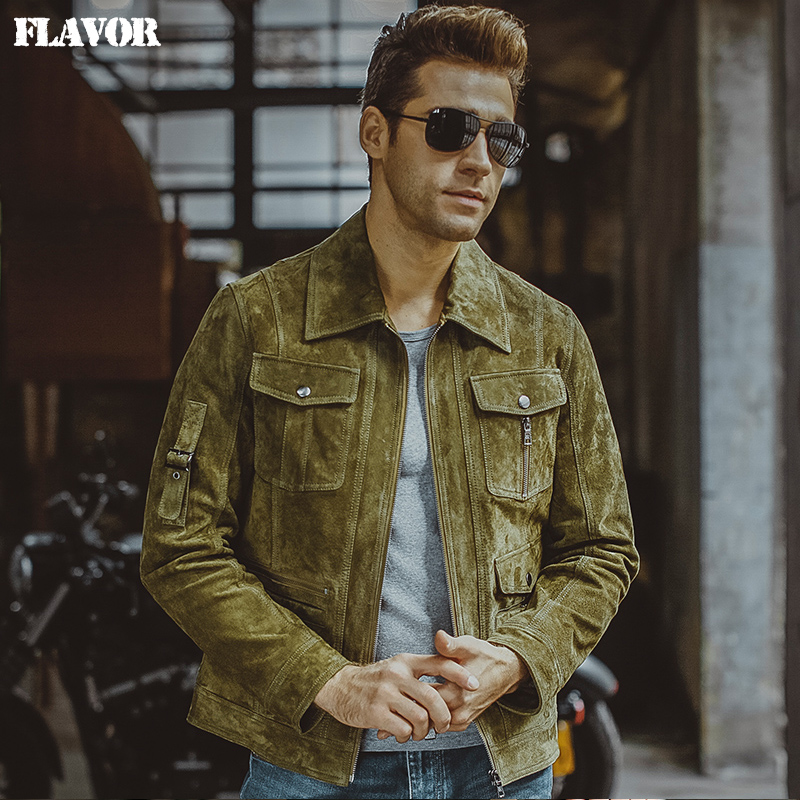 Men's Pigskin Green Real Leather Jacket Genuine Leather Jacket Autumn Denim Jacket Men Motorcycle Coat