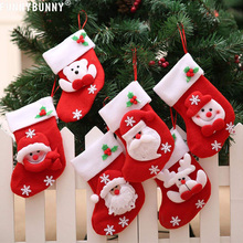 FUNNYBUNNY Christmas Stockings Candy Gift Bag Socks Cute Santa Snowman Reindeer Tree Hanging Decoration random style