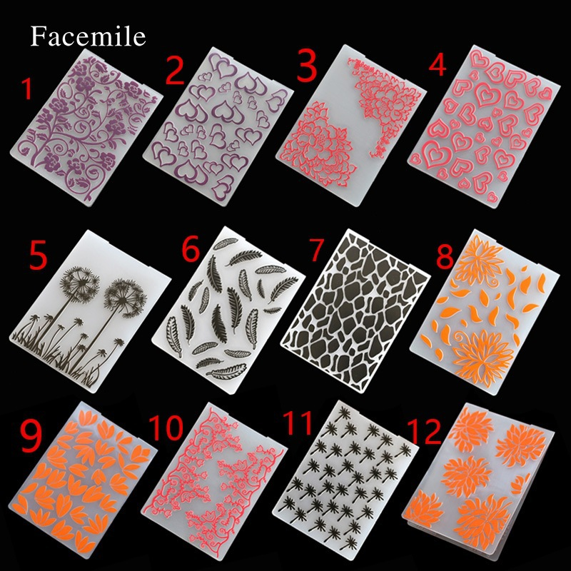 Facemile 1PCS Plastic Embossing Folder For Scrapbooking Irregular Bricks Type Photo Album Card Paper Craft Template Mold Tool in Embossing Folders from Home Garden