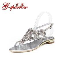 G-sparrow 2018 New Summer Womens Bohemian Flowers Rhinestone Flip-Flops Sandals Large Size Flat Shoes