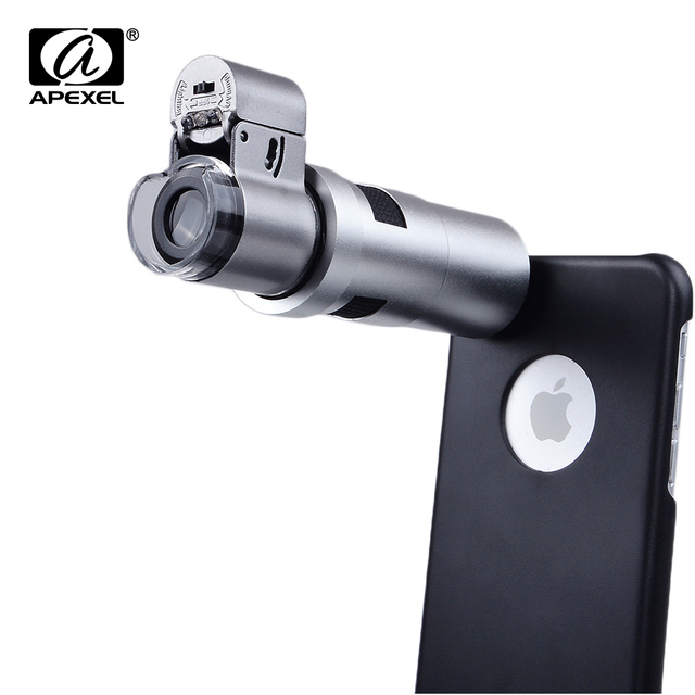 US $29 99 |Apexel LED Microscope 200X Zoom Magnifier Micro Mobile Phone  Camera Lens For iPhone x 7 8 6 plus For Samsung S9 S8 plus s7 edge-in  Mobile