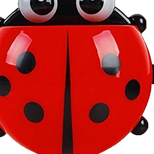 Boutique Convenient Bathroom Toothbrush Stuff Ladybug Wall Suction Holder-Red image