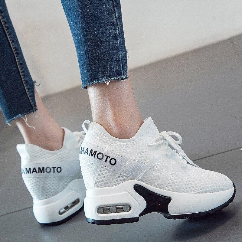 Sneakers Sleeehak Height Increasing Sneakers High Heel Casual White Sneakers Shoes Women Leisure Platform Wedges Krasovki Black