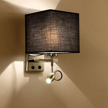 Wall Lights For Home Lampada LED Cloth Wall Light Rail Project Square Wall Lamp Bedside Bedroom Hallway Wall Lamps Arts Supplies