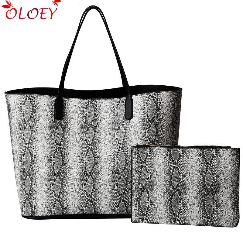 2019 Serpentine sacs à main en polyuréthane luxe décontracté fourre-tout femmes sac à bandoulière grande capacité dames sacs à main avec embrayage 2 pièces/ensemble