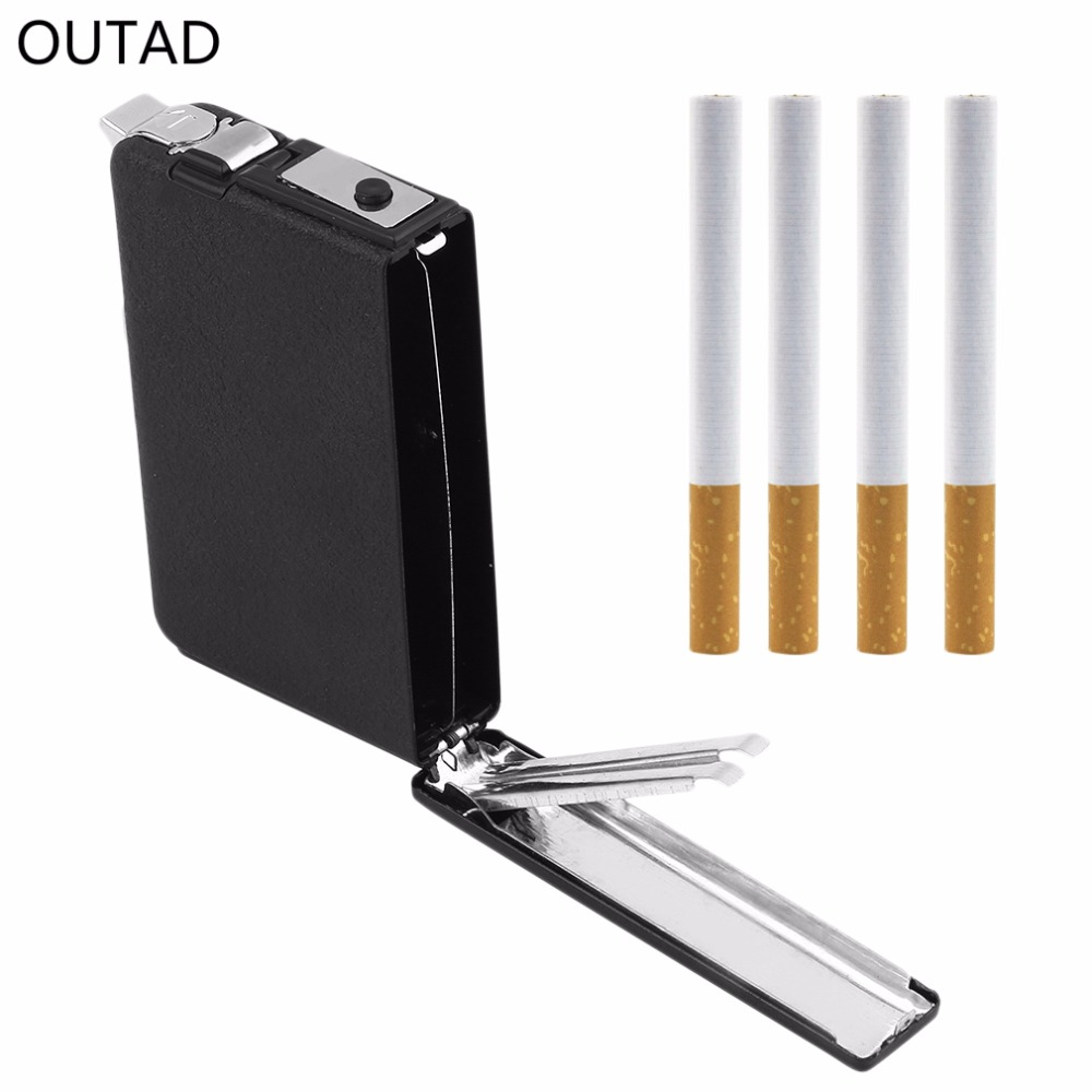OUTAD Cigarette Case Ejection Butane Windproof Metal Box Holder Automatic Lighter Smoking...